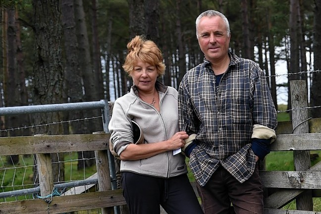 Trudi and Andy Philip beside one of the former access paths to Rhynagoup Woods