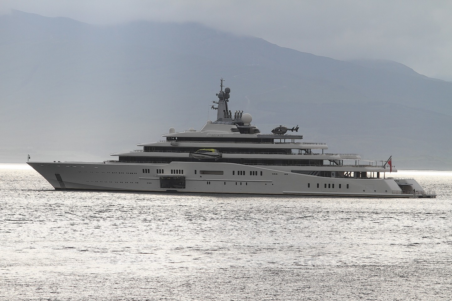 The Yacht Eclipse owned by Roman Abramovitch lies at Anchor Oban Bay