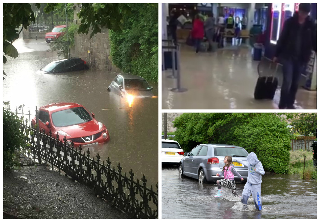 The floods have caused chaos on the roads and the airport but at least these two young children are making the most of the weather
