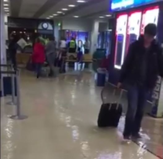 Aberdeen Airport has been flooded. Screengrab from Northsound 1 video.