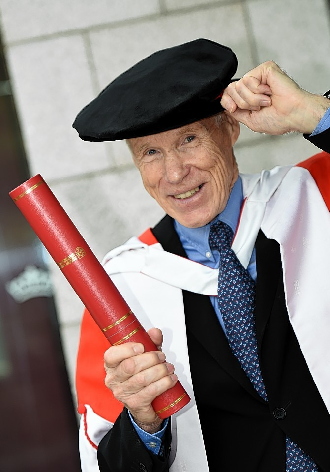 RGU Graduations at HMT wednesday morning ;  Pictured - Honorary grad - Deep-sea explorer Dr Joe Macinnis.      Picture by Kami Thomson    16-07-15