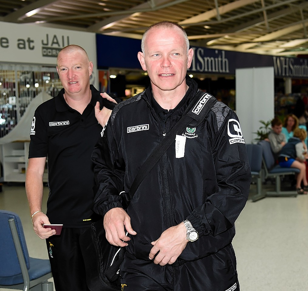 Rice with Caley Thistle manager John Hughes as they prepare to head to Romania