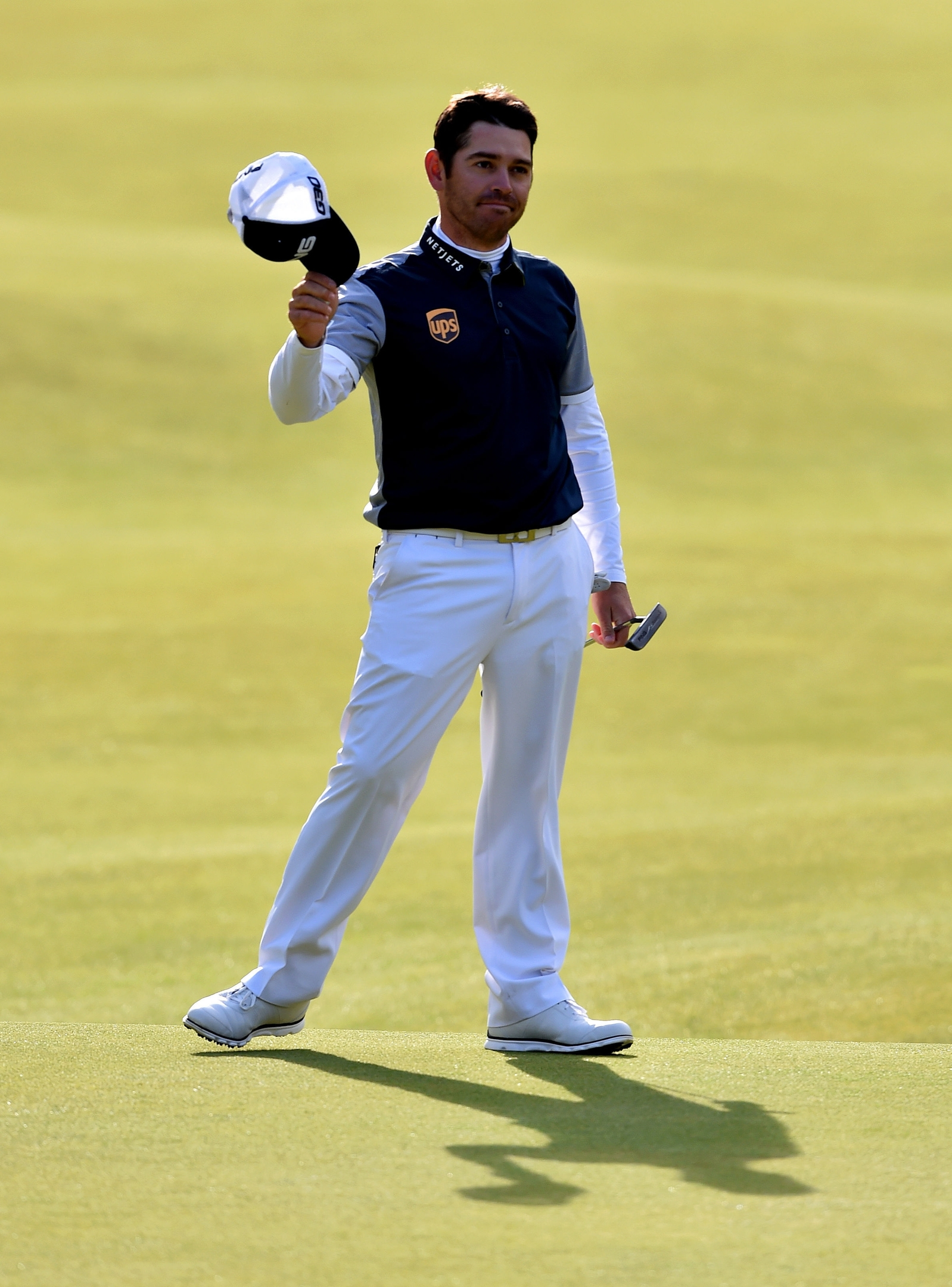 South Africa's Louis Oosthuizen celebrates his birdie putt on the 18th during day four of The Open Championship at St Andrews. Owen Humphreys/PA Wire.