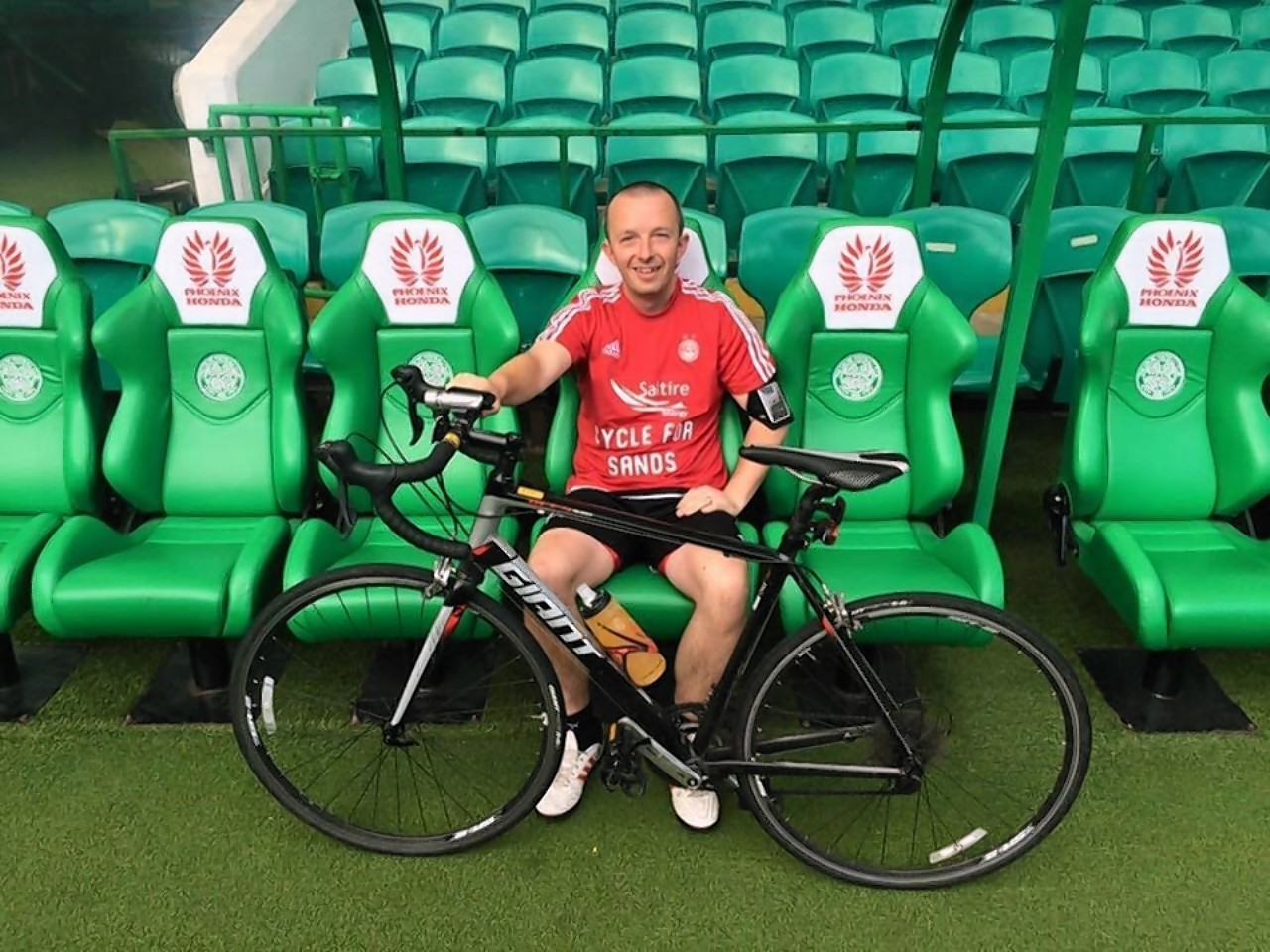 Martin Bagshaw cycled round 15 football stadiums across Scotland