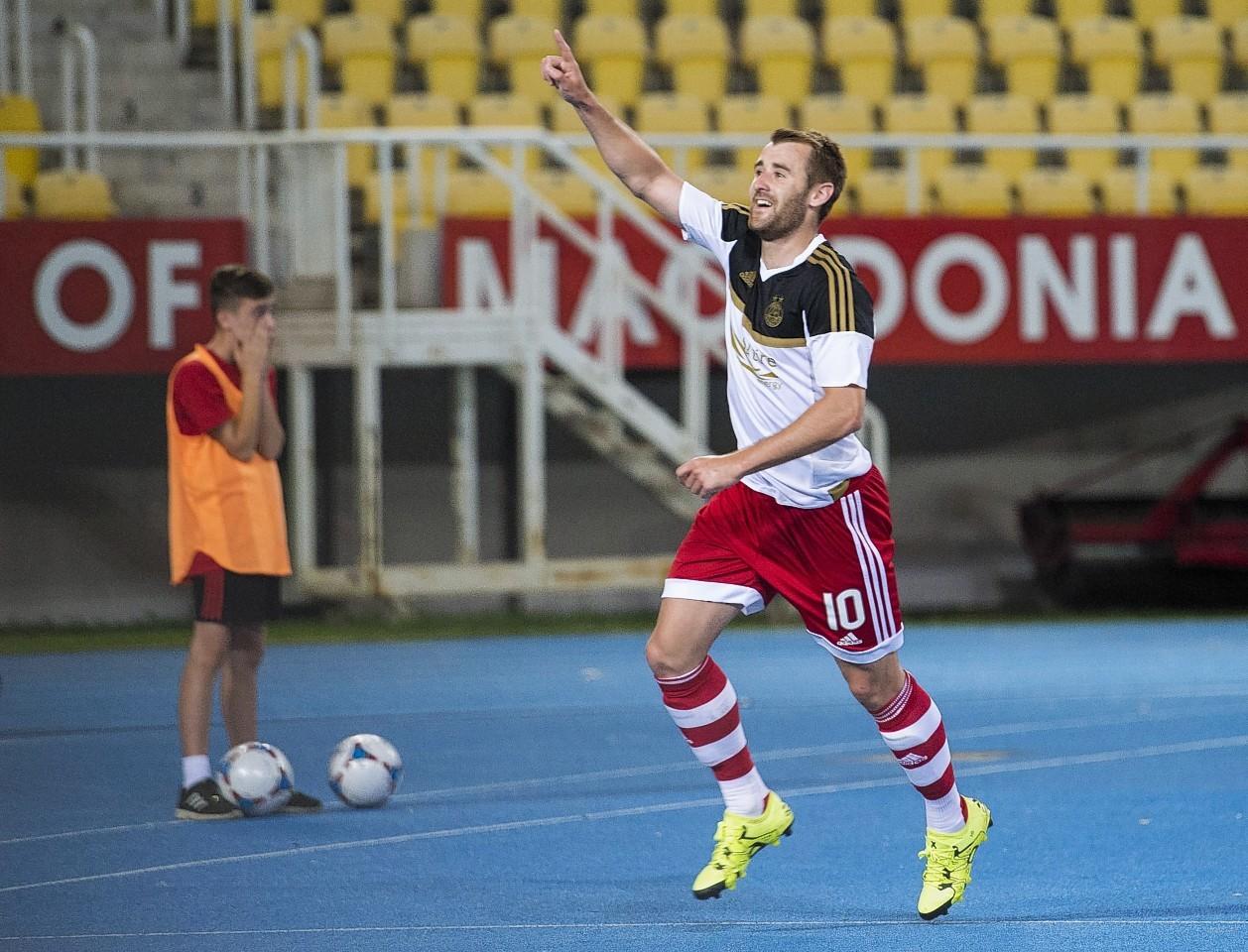 Niall McGinn celebrates scoring in a Europa League qualifier in Macedonia last year.