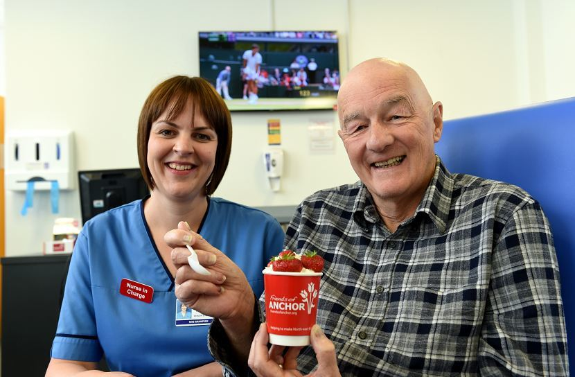 Nurse Fiona Donald and Yeoman Smith at the cancer ward