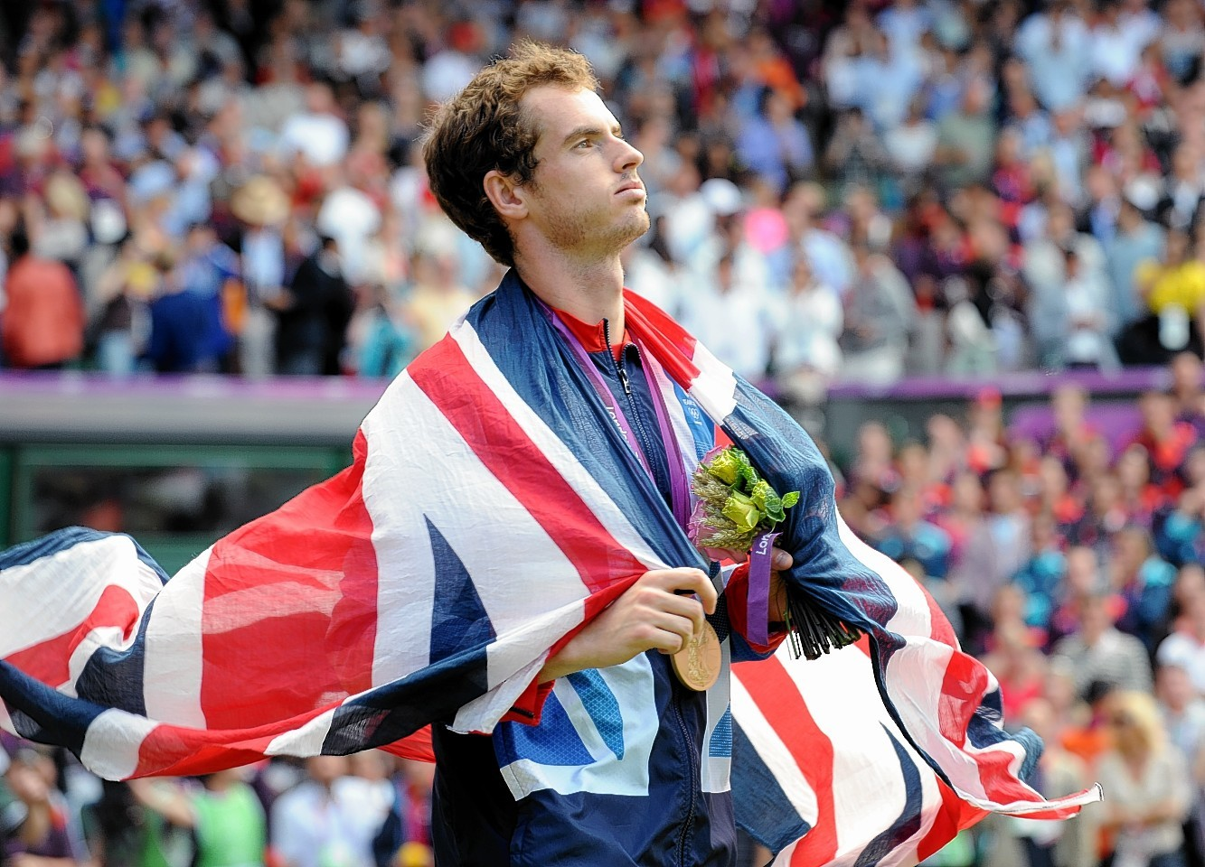 Murray after beating Federer in the 2012 Olympics final. Picture by Colin Rennie