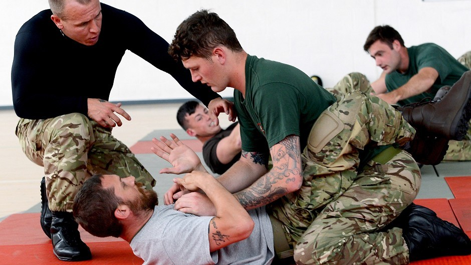 Actor Tom Hardy during a visit to RM Condor in Arbroath, Scotland (LA Phot Pepe Hogan/MoD/Crown Copyright/PA)