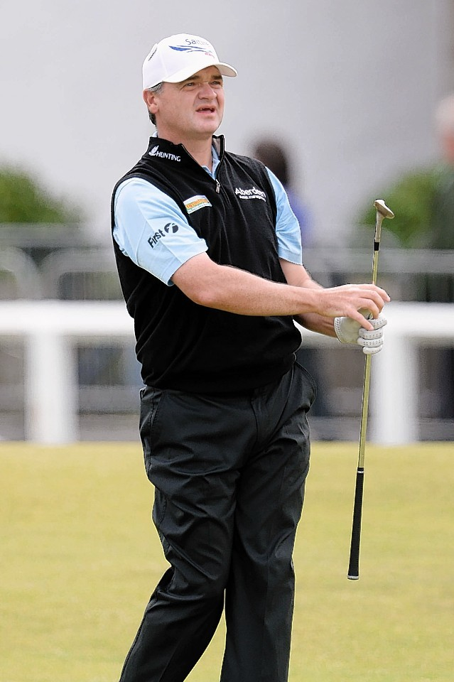 Paul Lawrie watches on following a shot on his final round