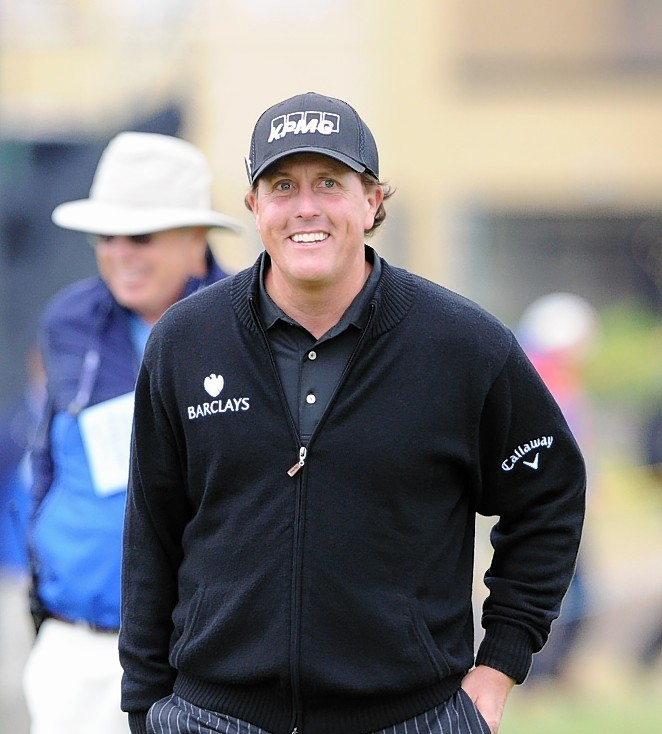 Mickelson was all smiles on the second hole during day five of The Open Championship