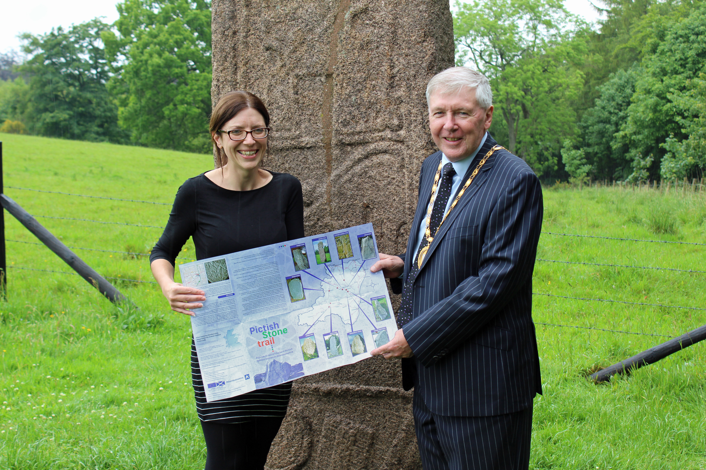 The Pictish Stone Trail is a guide to 10 of the best local sites and was launched at the Maiden Stone, near Inverurie by Provost of Aberdeenshire Hamish Vernal and council archaeologist Claire Herbert.