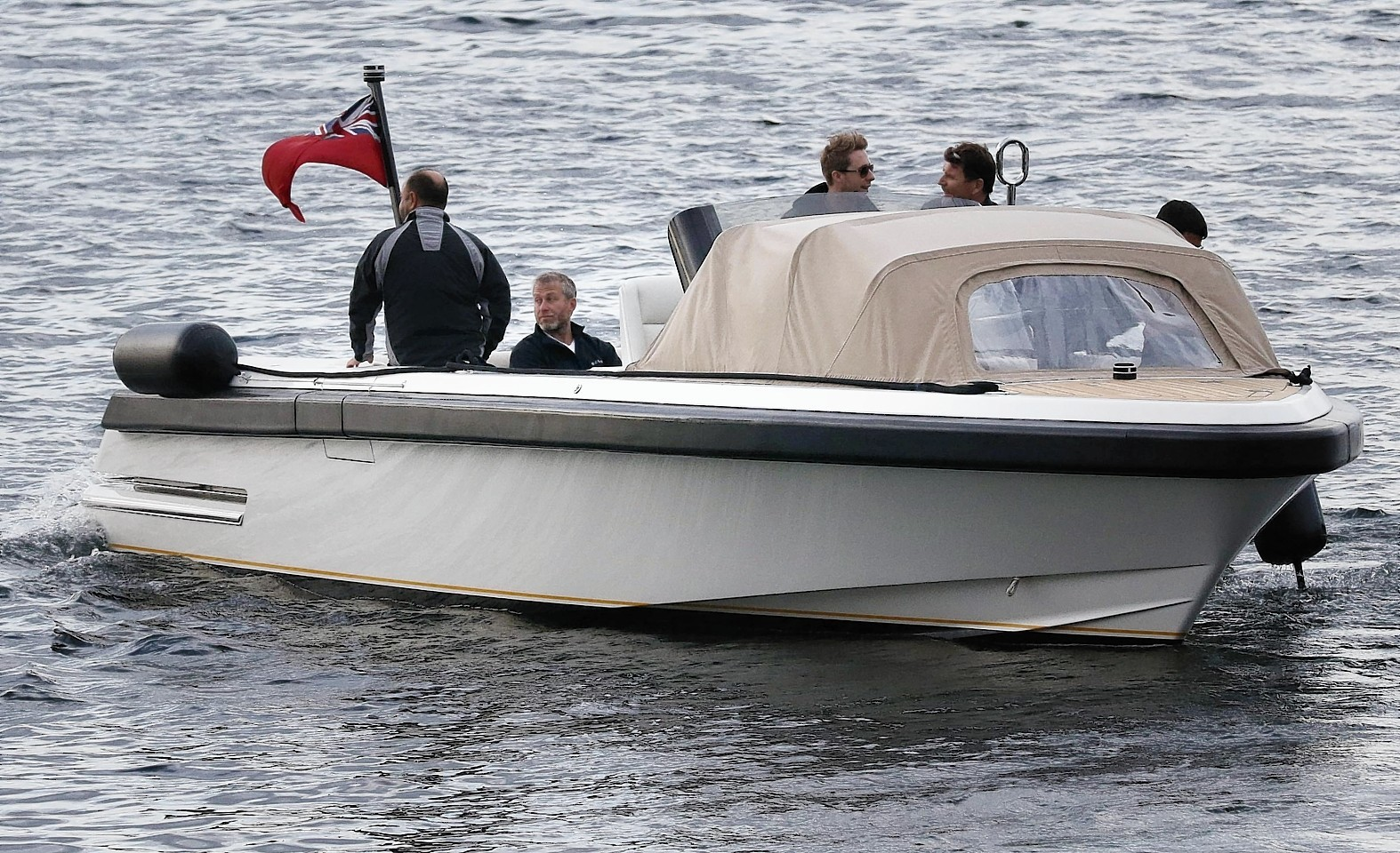 Abramovich arrives in Lochranza Arran to take his dog for a walk around the island.