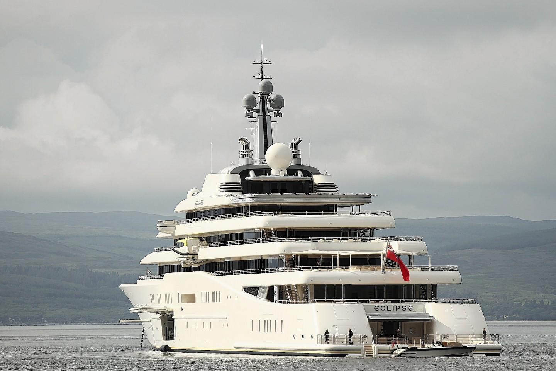 Abramovich's rather impressive Eclipse moored near Lochranza, Arran before his visit to Islay