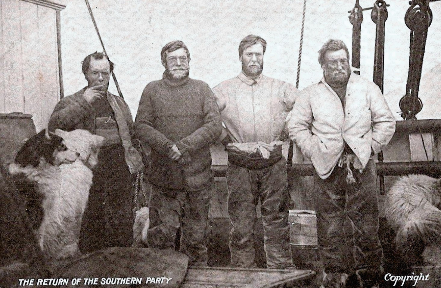 Undated Shackleton Foundation handout photo showing Sir Ernest Shackleton's South Pole expedition team, left to right, Frank Wild, Sir Ernest Shackleton, Eric Marshall and Jameson Boyd-Adams. PRESS ASSOCIATION Photo.