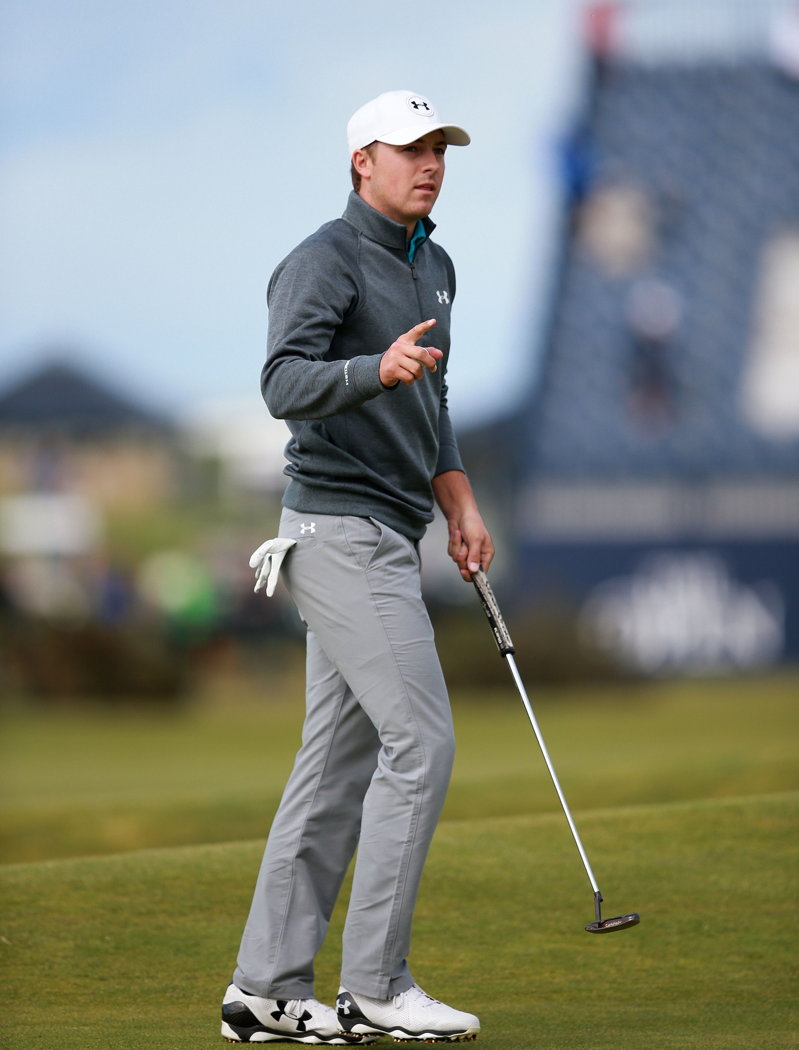 USA's Jordan Spieth celebrates a putt during day four of The Open Championship. Danny Lawson/PA Wire.
