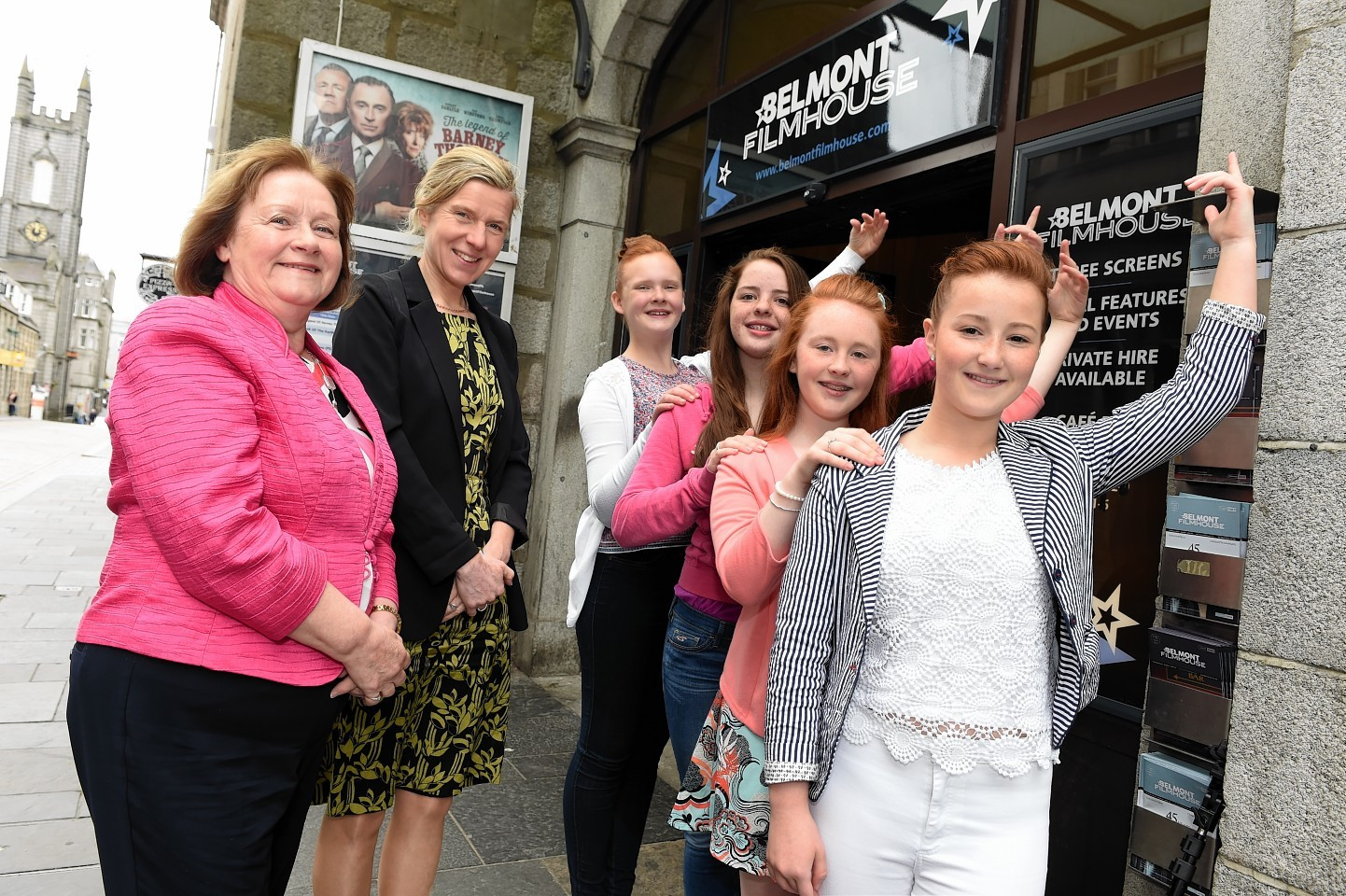 Maureen Watt, Minister for Public Health, Film director Katrina McPherson and cast Louise Strachan, Kimberley Sheppard, Erin Pyper and Georgia Jack at Belmont Cinema.  Picture by Kevin Emslie