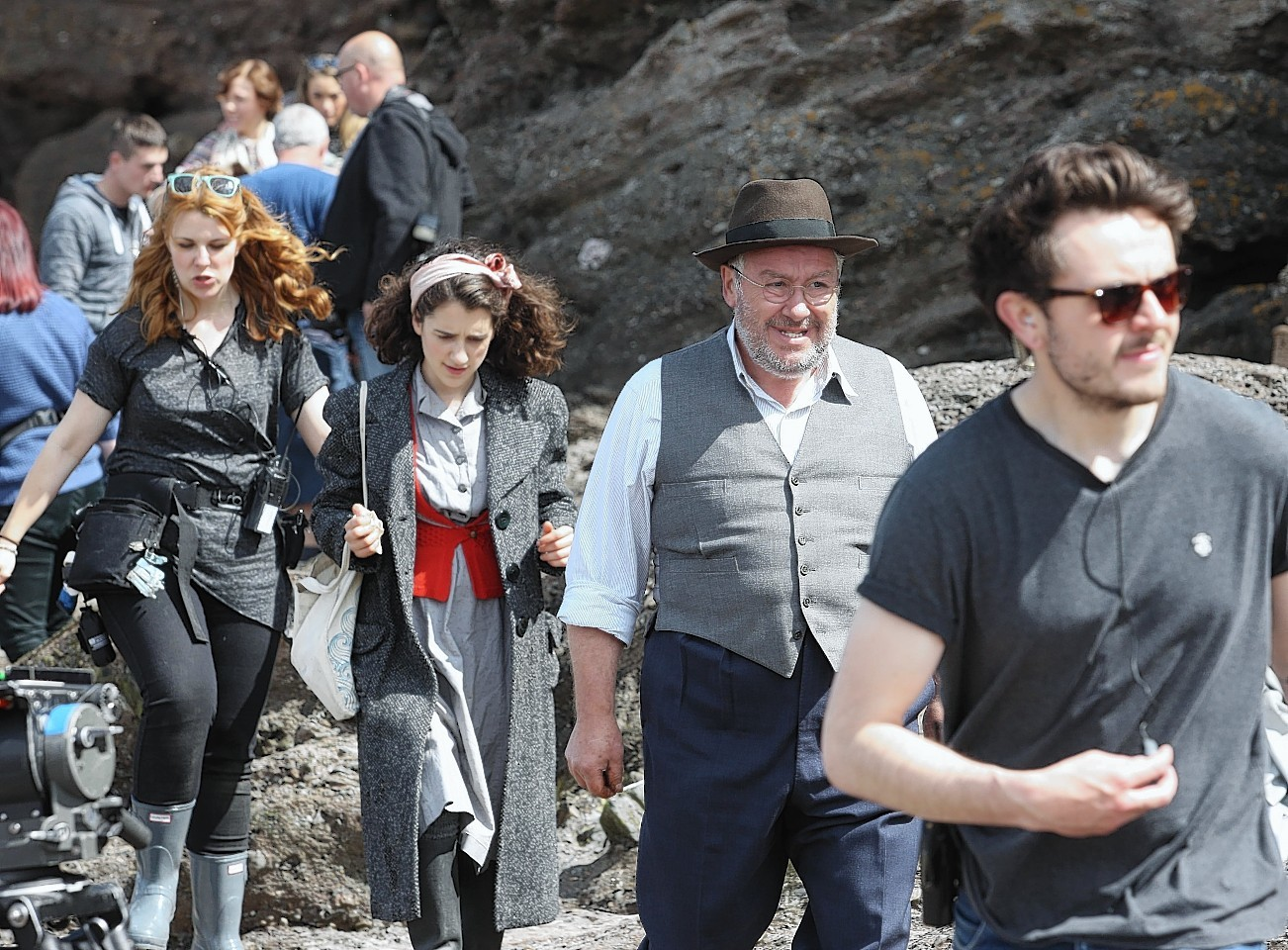 Pictures of the beginning of filming of Whisky Galore  at Portsoy