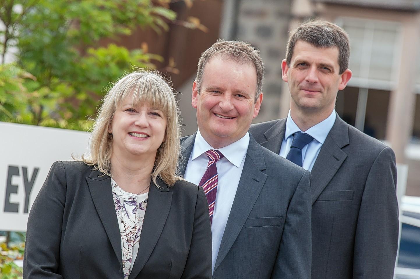 New Aberdeen EY partners Heather Smallwood and Jamie Dixon with Aberdeen senior partner Derek Leith (centre)