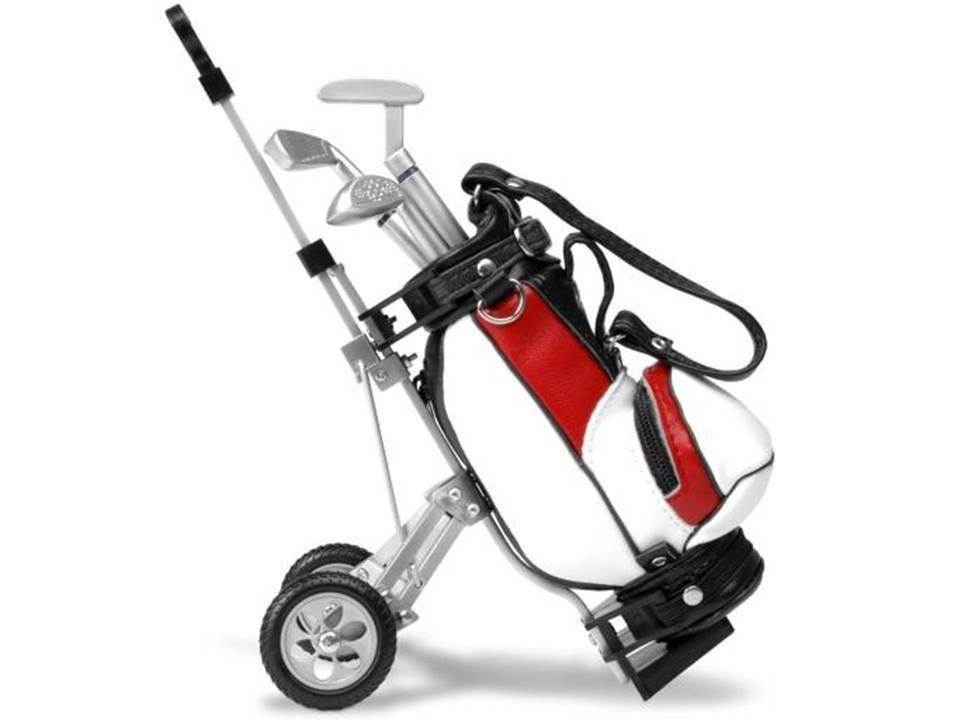 Miniature golf caddy & bag desktop pen holder set, £17.99, www.rakuten.co.uk
