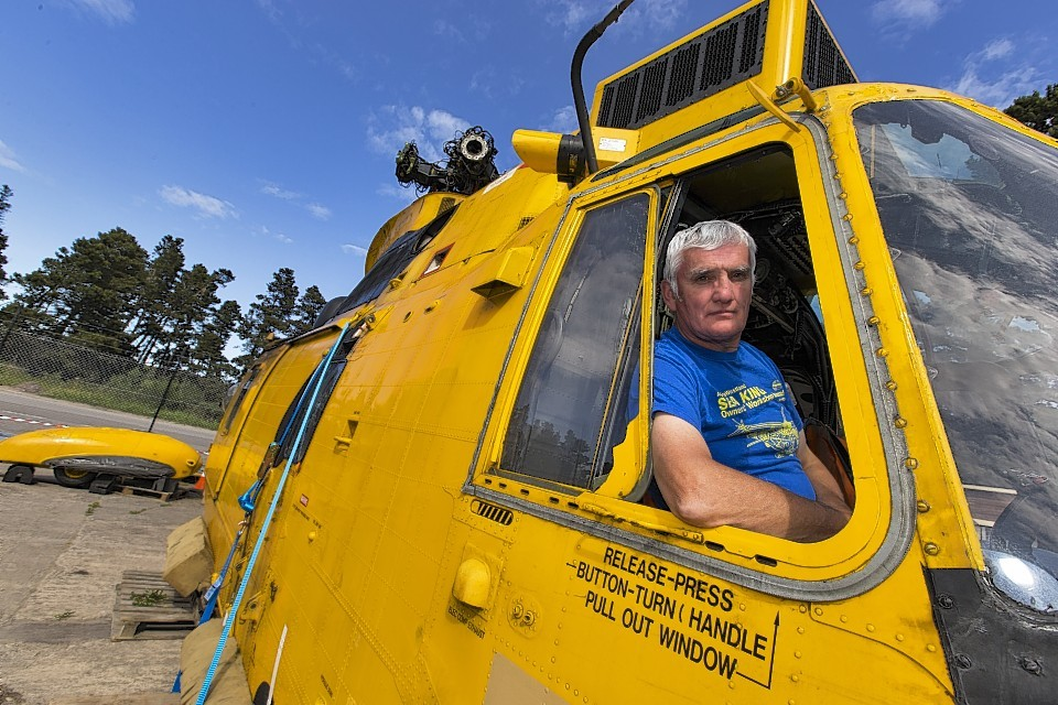 Graeme Ferris onboard the Sea King