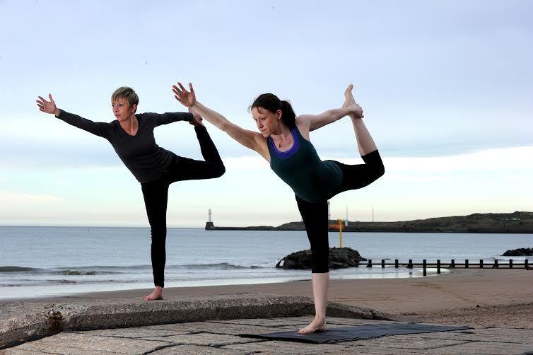 Yoga on Aberdeen beach