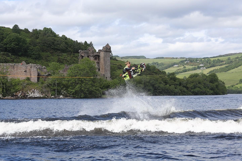 Wakeboarder Adam Errington performs tricks on Loch Ness