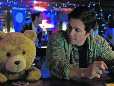 Mark Wahlberg with his furry friend in Ted 2
