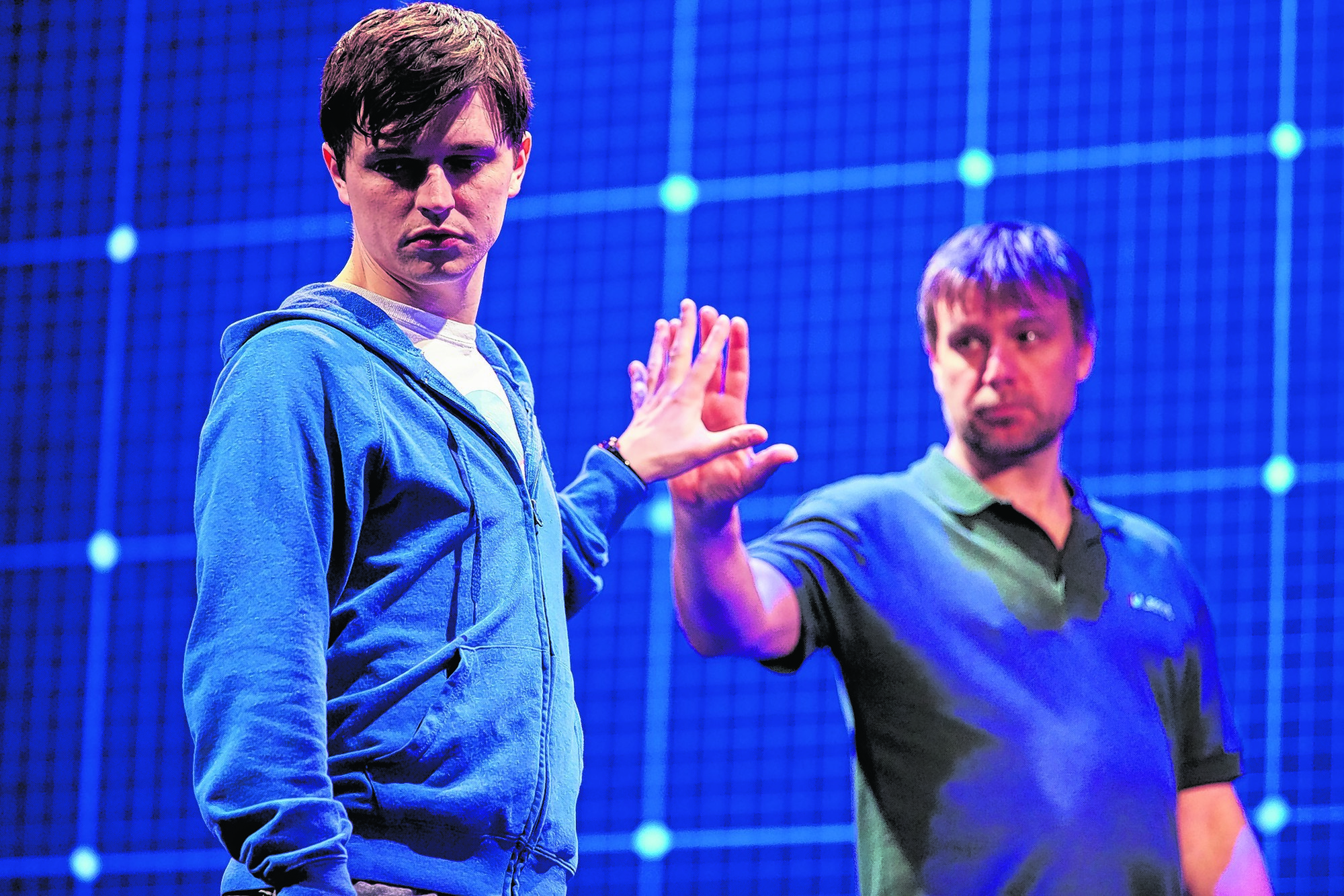 Joshua Jenkins as Christopher and Stuart Laing as Ed in The Curious Incident of the Dog in the Night-Time. Photo: Brinkhoff Moegenburg