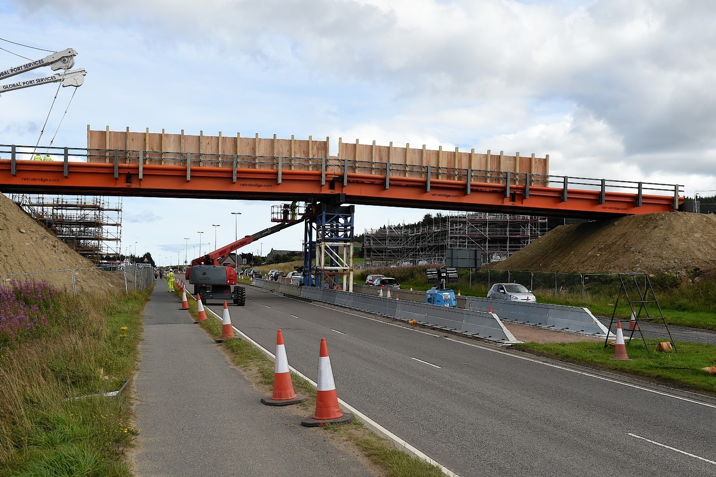 Picture of a temporary bridge erected for AWPR construction equipment. Picture by Kenny Elrick