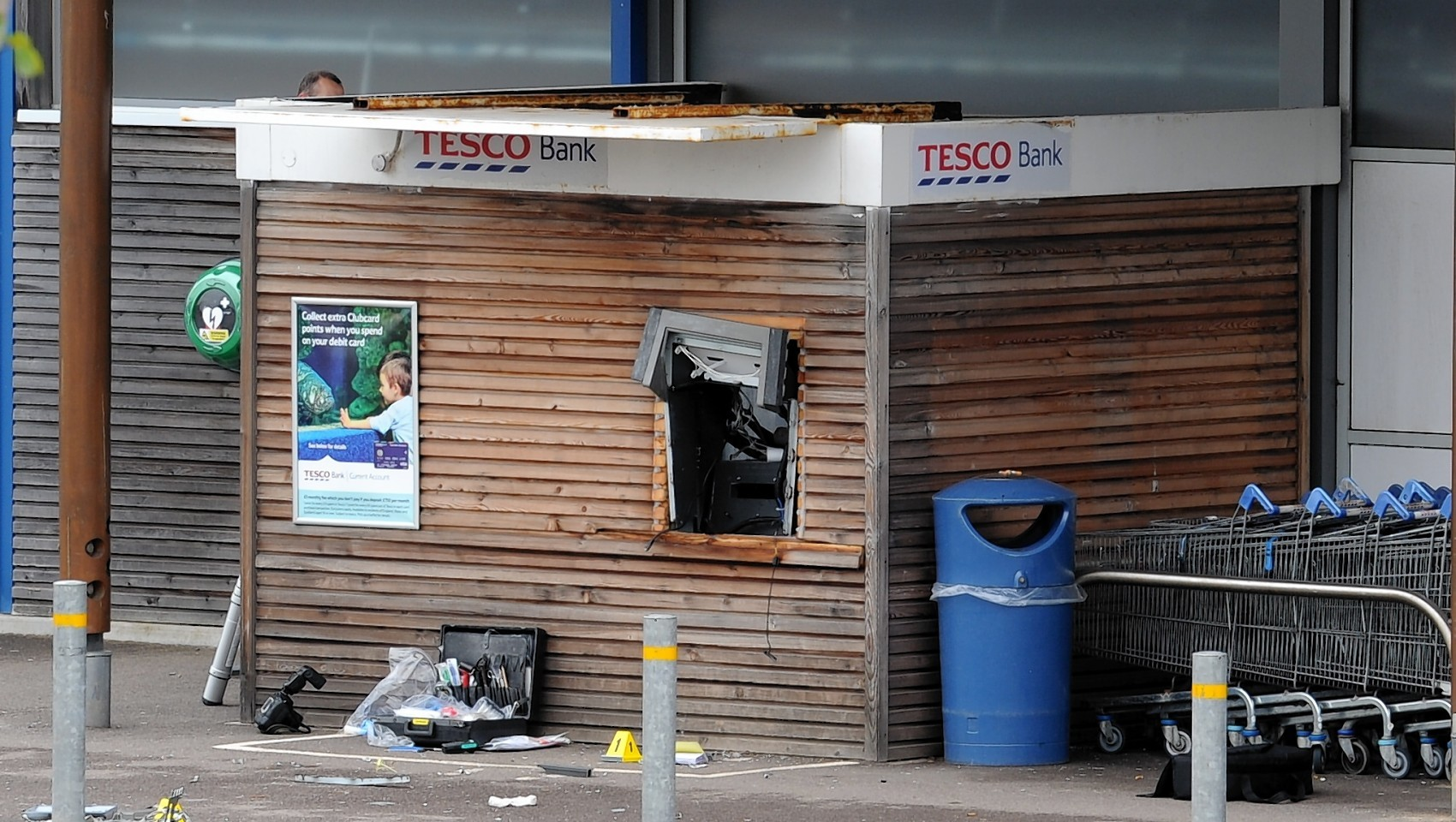 The ATM bank machine blown up at Tesco in Newtonhill