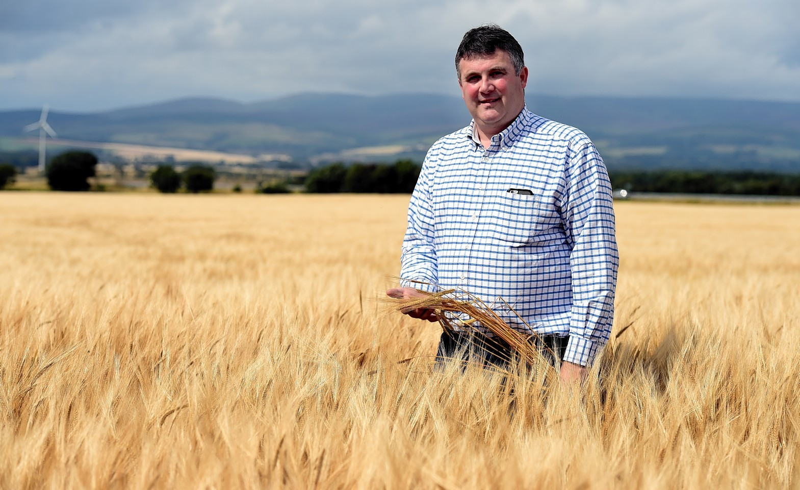 Alex Reid in his champion crop of barley