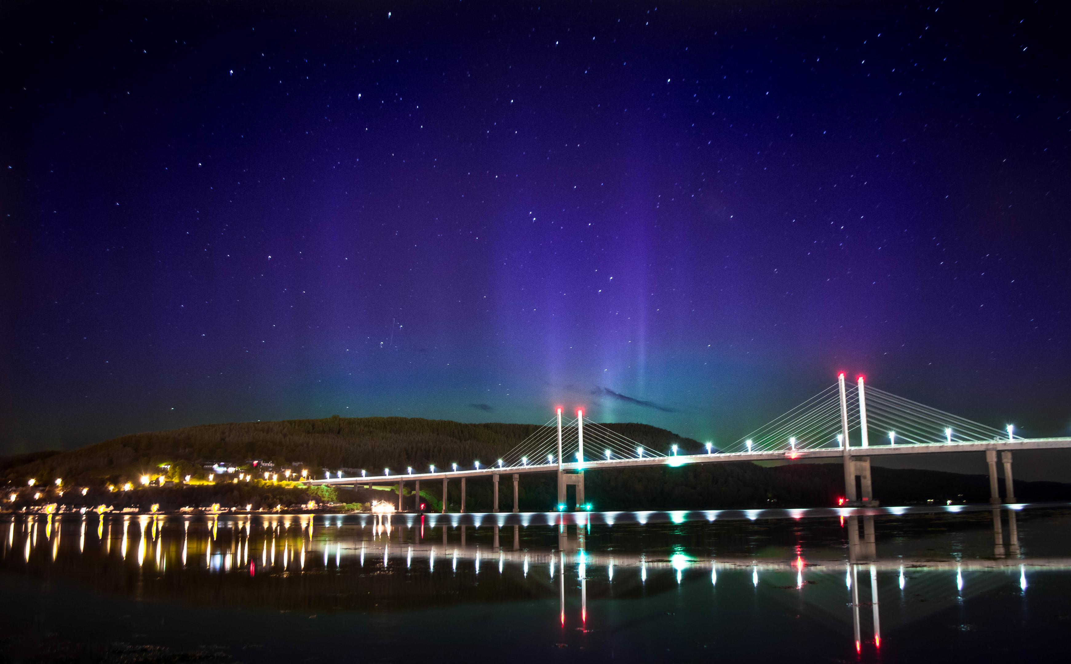 The northern lights over the Kessock Bridge