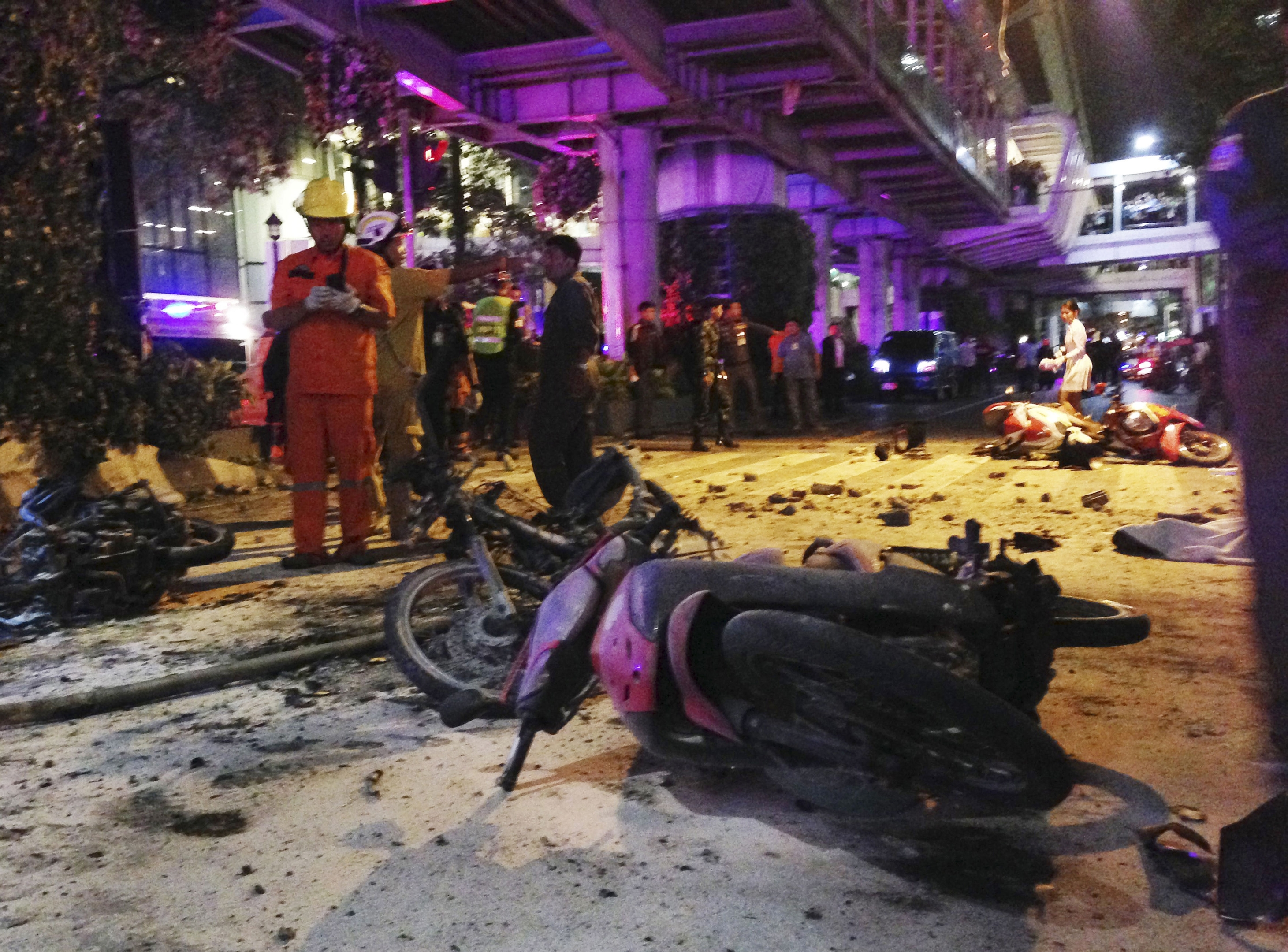 Motorcycles are strewn about after the bombing