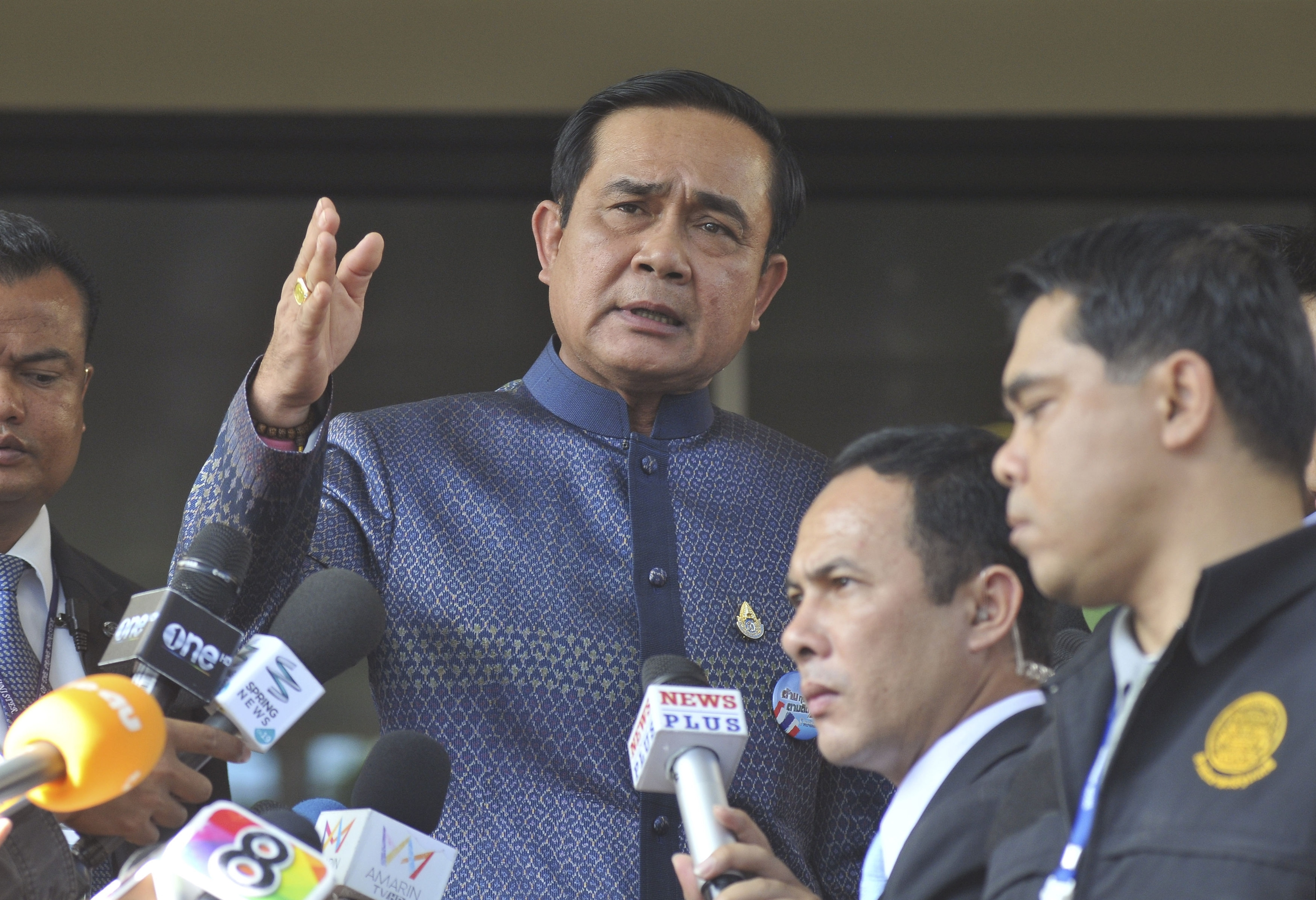 Thailand's Prime Minister Prayuth Chan-ocha speaks to reporters in Bangkok, Tuesday, Aug. 18, 2015. Prayuth on Tuesday promised that authorities would quickly track down those responsible for the central Bangkok bombing which he described as the country's worst attack ever.