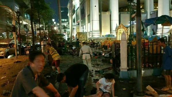 Bangkok city centre explosion. Pic credit: Twitter user @richardbarrow
