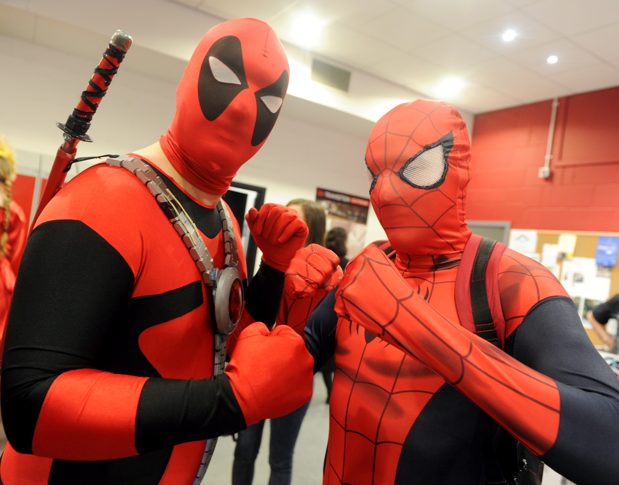 Andrew Southward, left and james Murray (Deadpool and Spiderman)