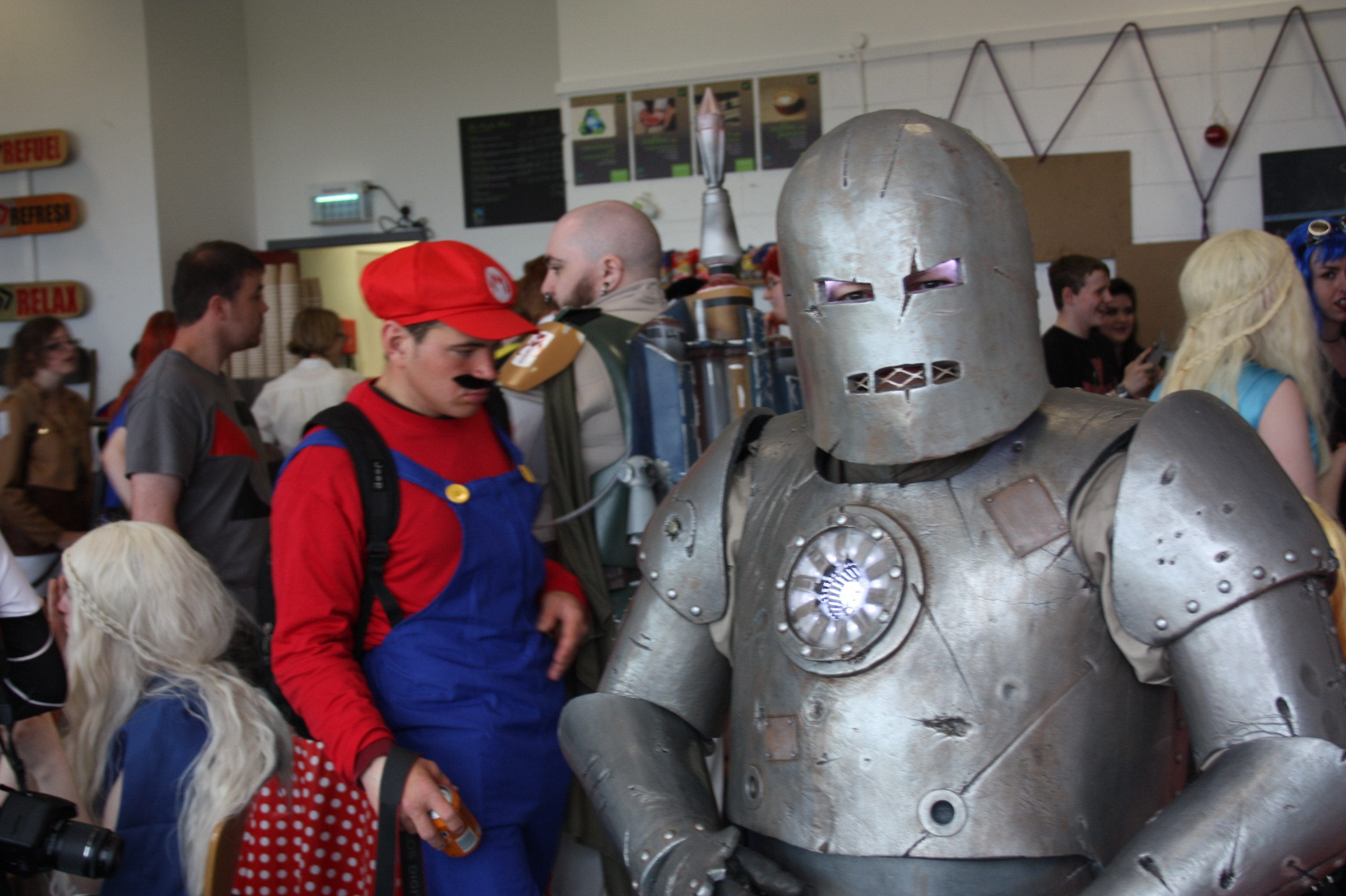 Iron Man Mark I and Mario in the middle