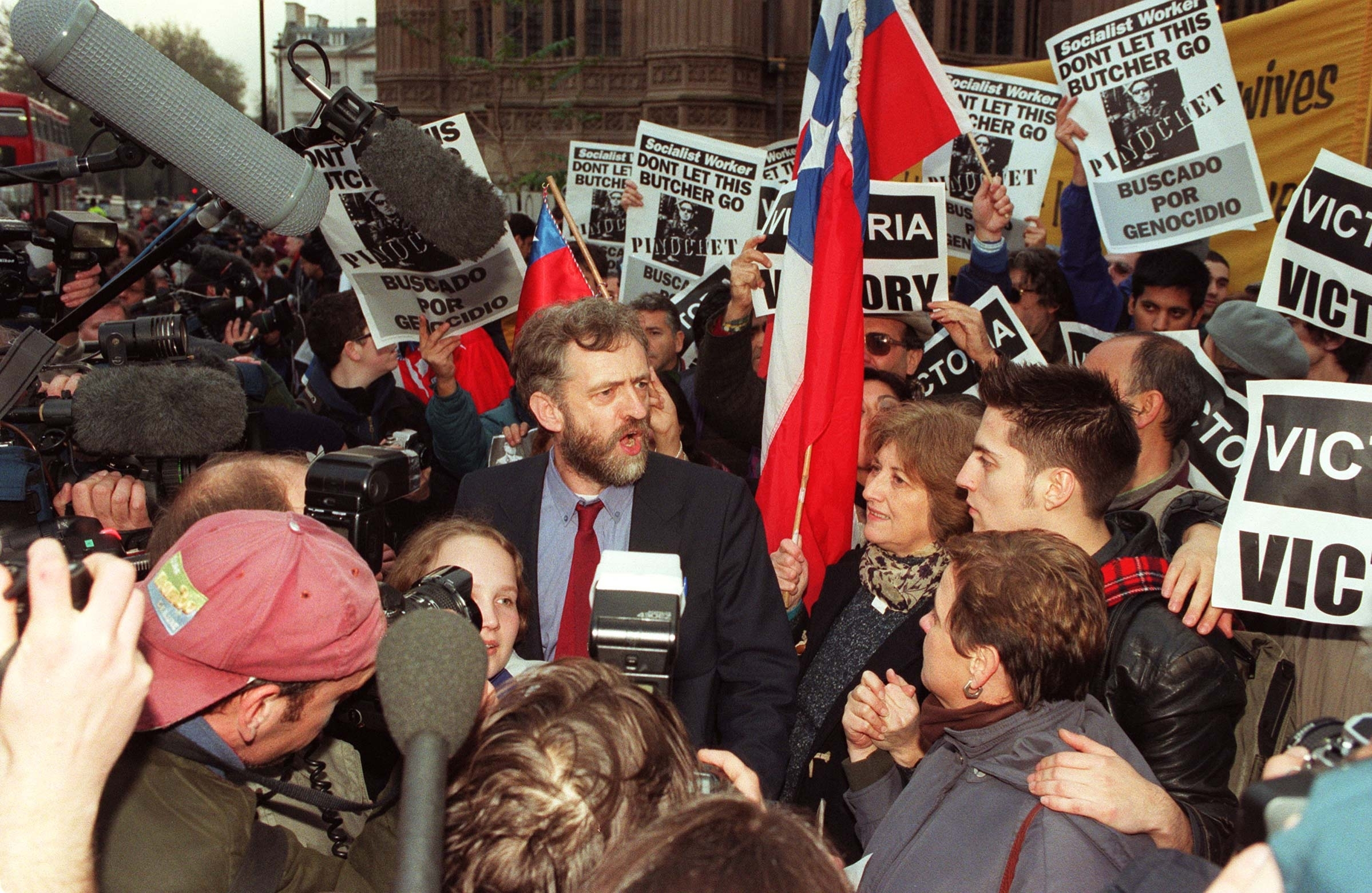 Labour MP Jeremy Corbyn speaking to journalists outside the House of Commons in London after the historic ruling by the House of Lords against the appeal of former Chilean dictator Gen. Augusto Pinochet. FACT 2: He was arrested at the South African Embassy in 1984 for protesting against apartheid.