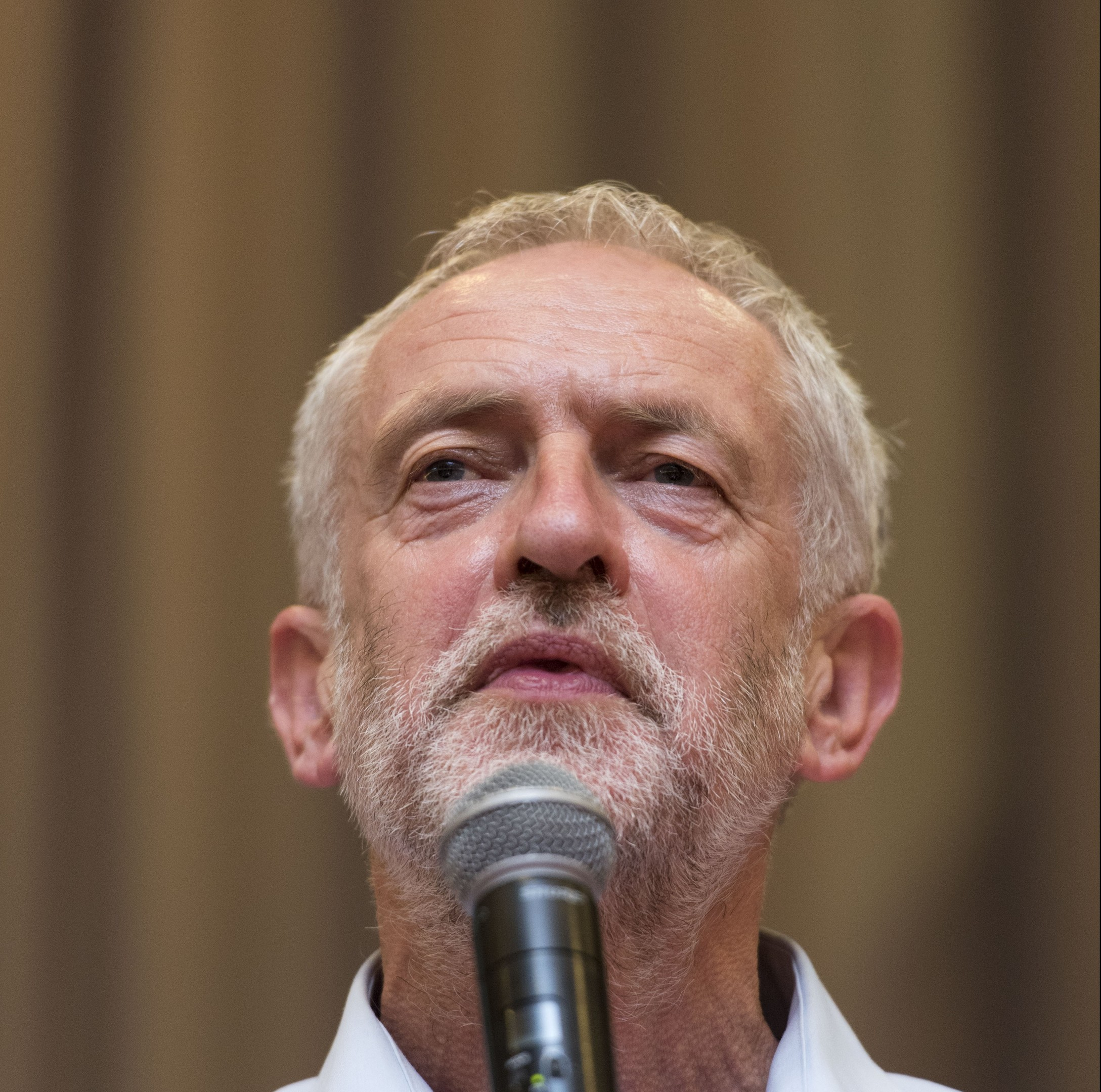 Labour leadership candidate Jeremy Corbyn attends a rally at the Mercure Cardiff Holland House Hotel on August 11