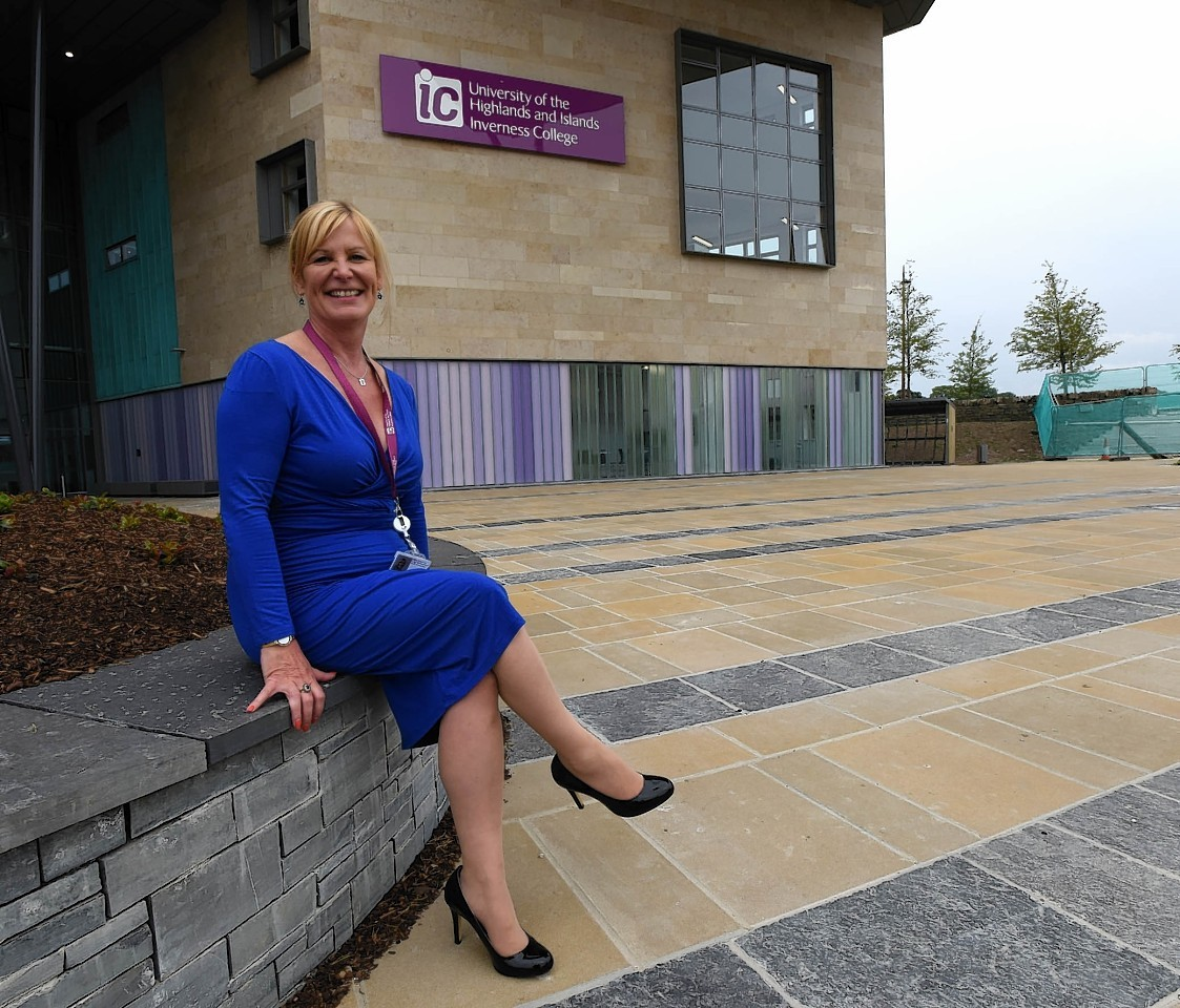 Inverness College principal Diane Rawlinson outside the new building