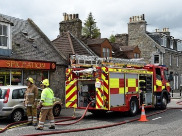 Fire fighters tackled the blaze just after midday
