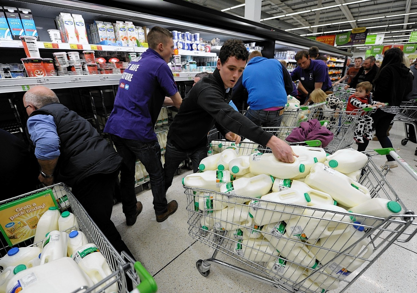 Farmers have been raiding supermarkets of milk in protest over poor prices
