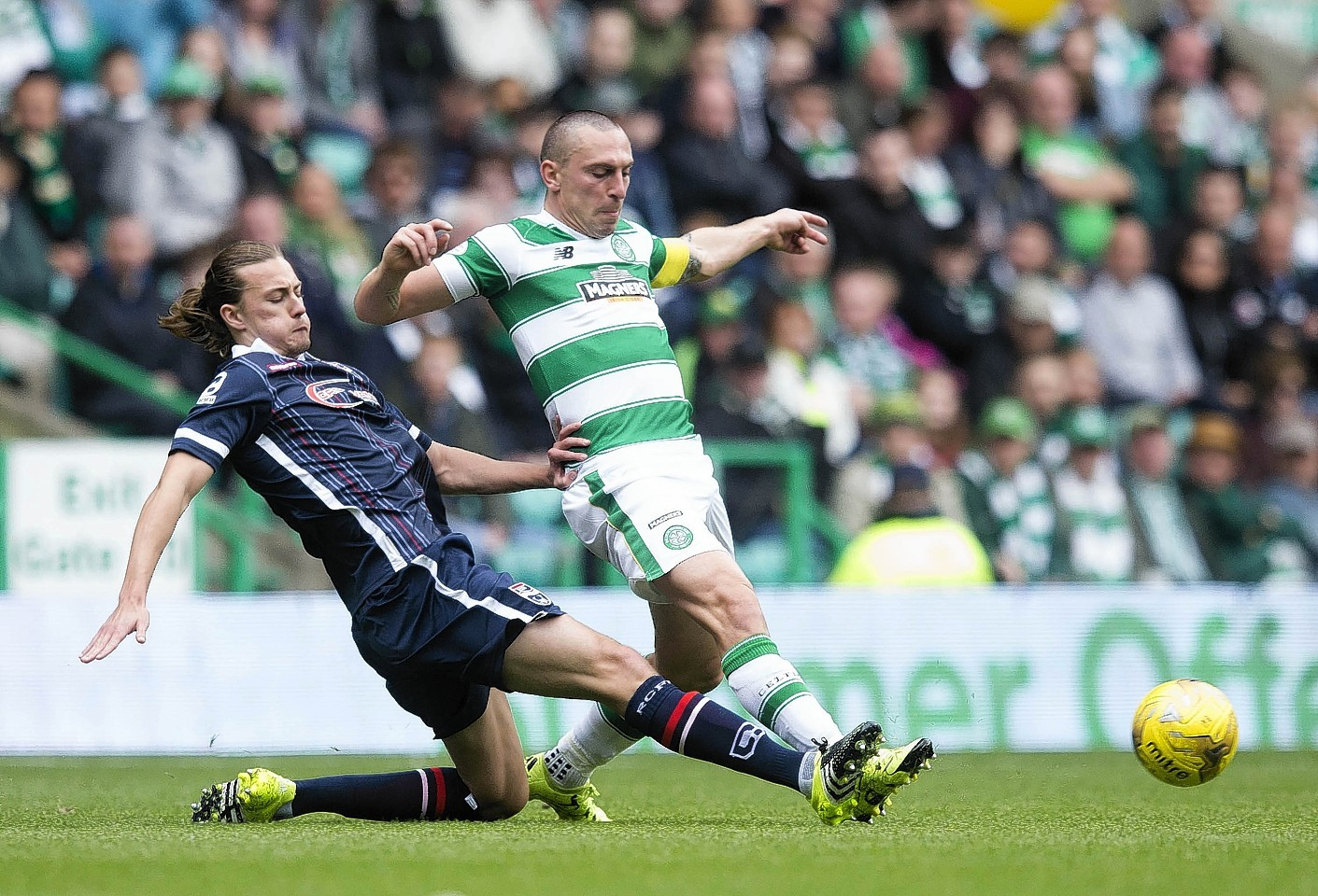 Irvine battles with Celtics Scott Brown in the middle of the park