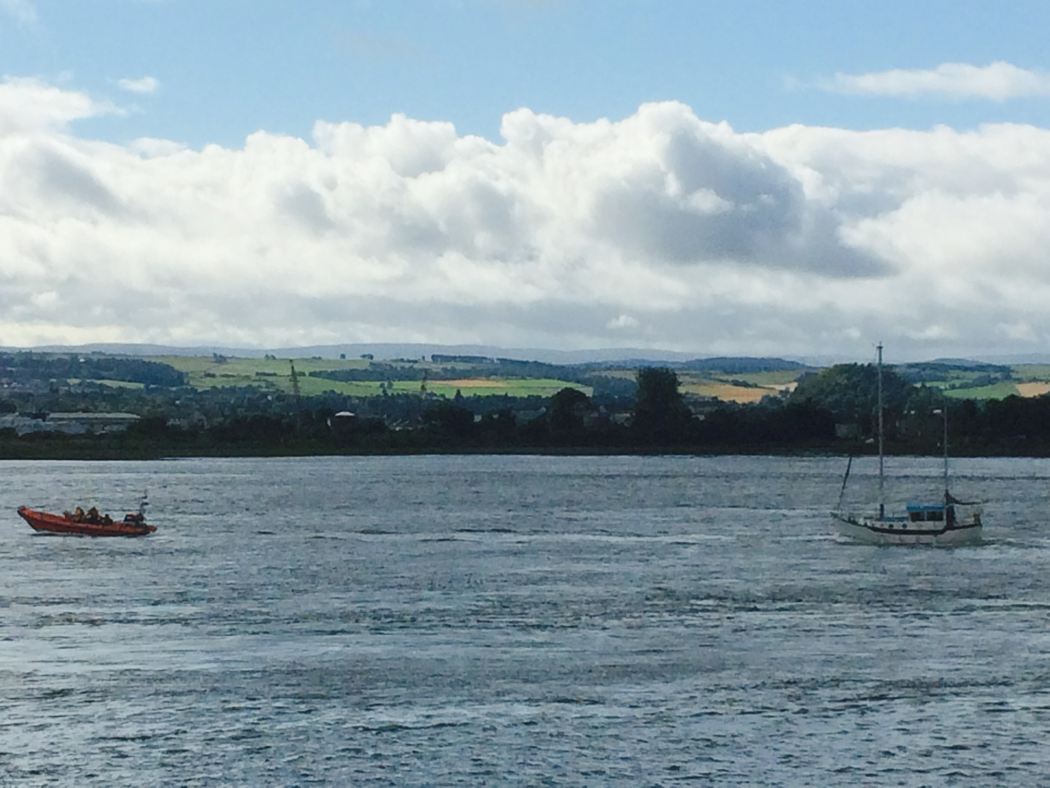 Kessock lifeboat tows the stricken yacht back to shore