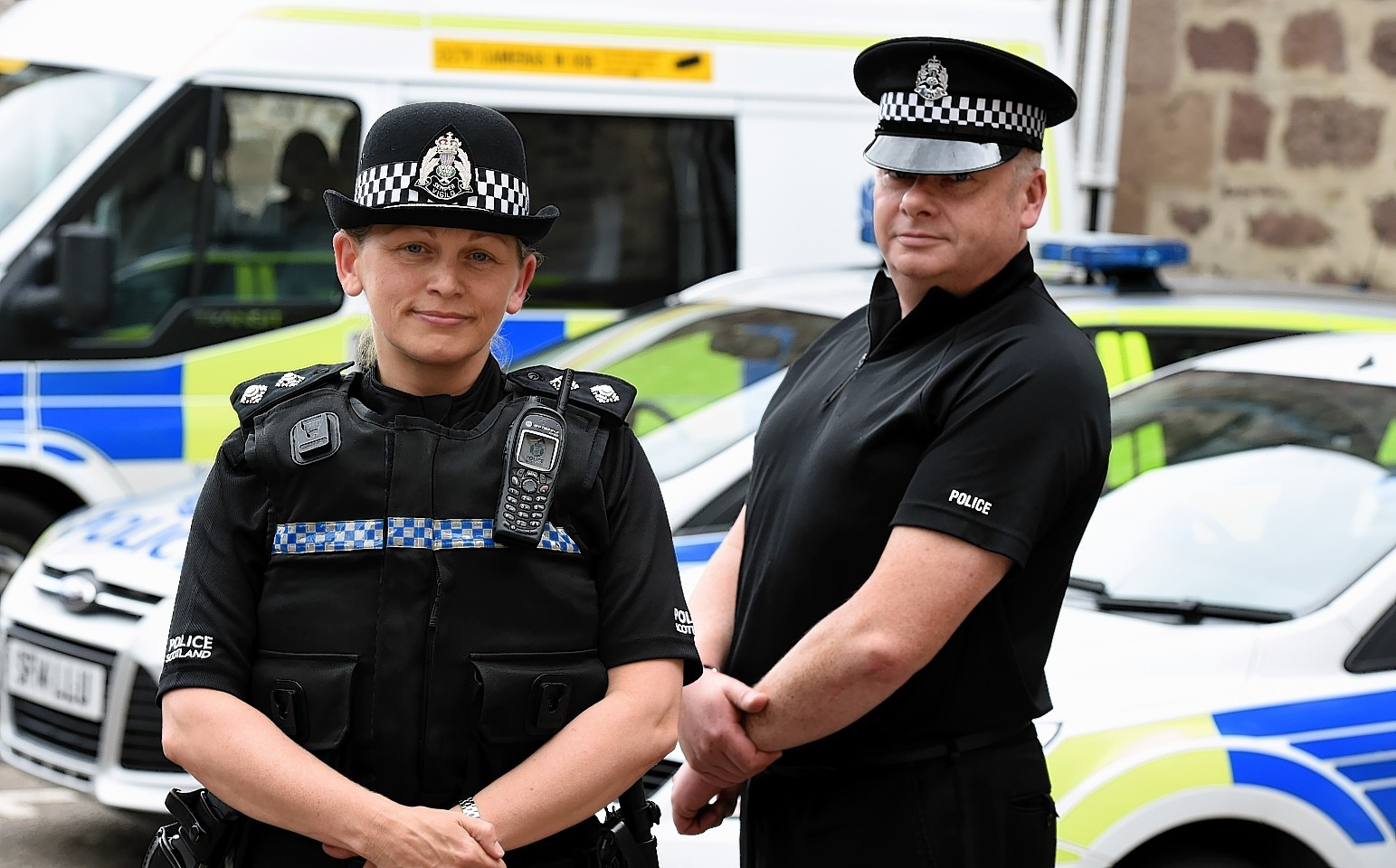 Kincardine and Mearns area inspector Finn McPhail with Crime Reduction Officer PC Kevin Marron