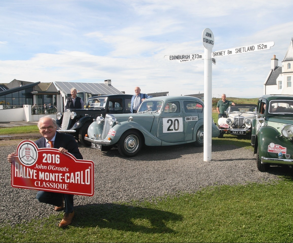 John o'Groats will be the scene of a poignant family tribute to the first Briton to win the Monte Carlo Classic Rally