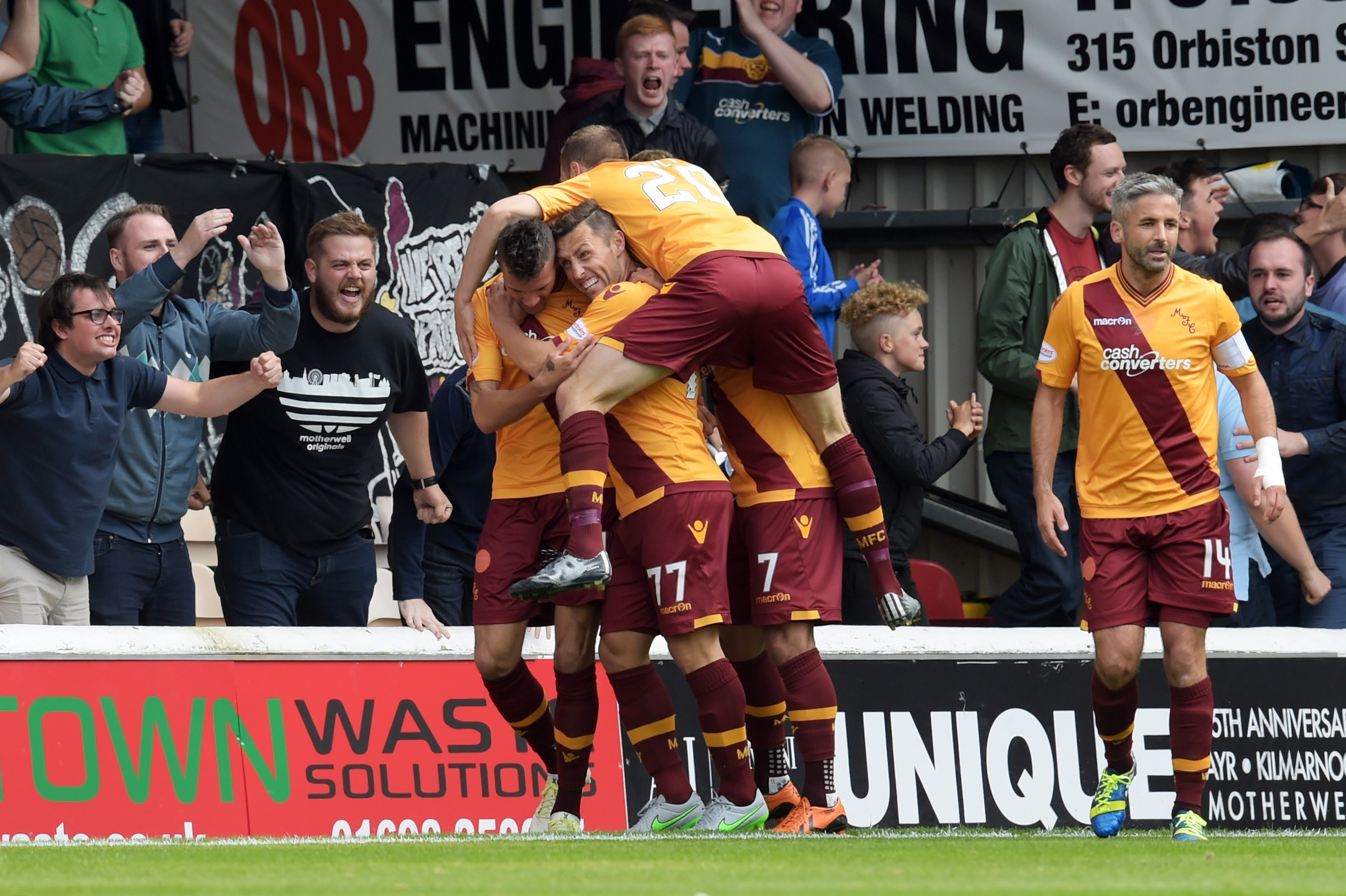 Motherwell's Marvin Johnson (left) celebrates his goal with his team-mates