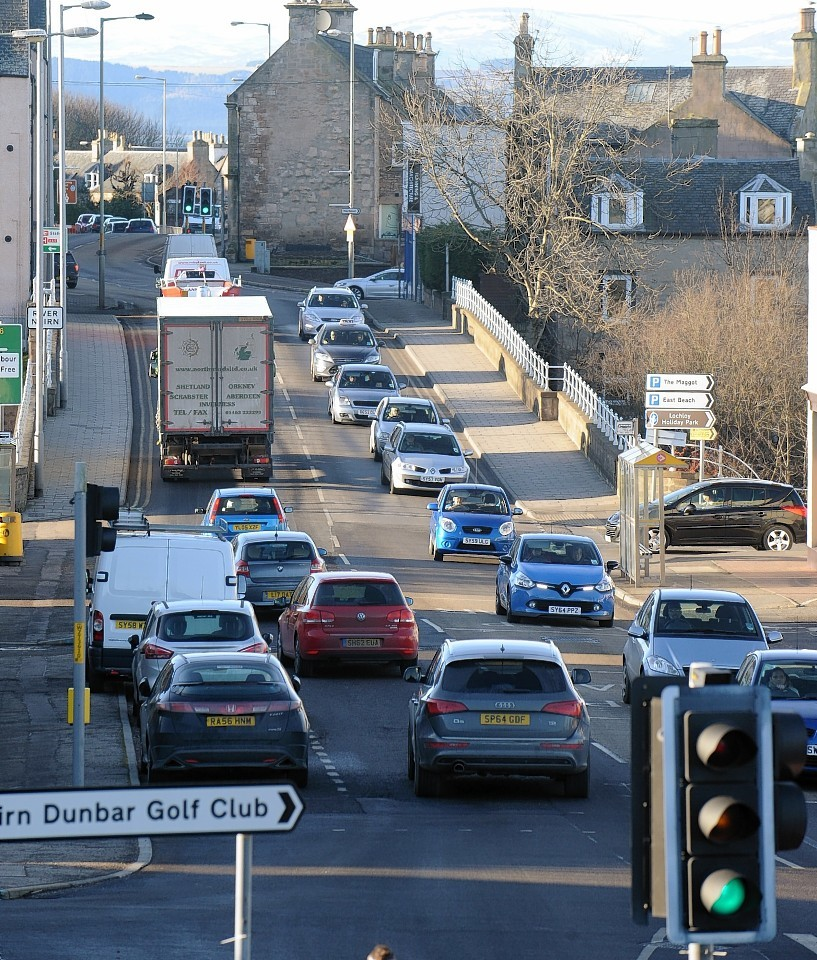 Gridlock - an all too common sight on the A96 in Nairn.