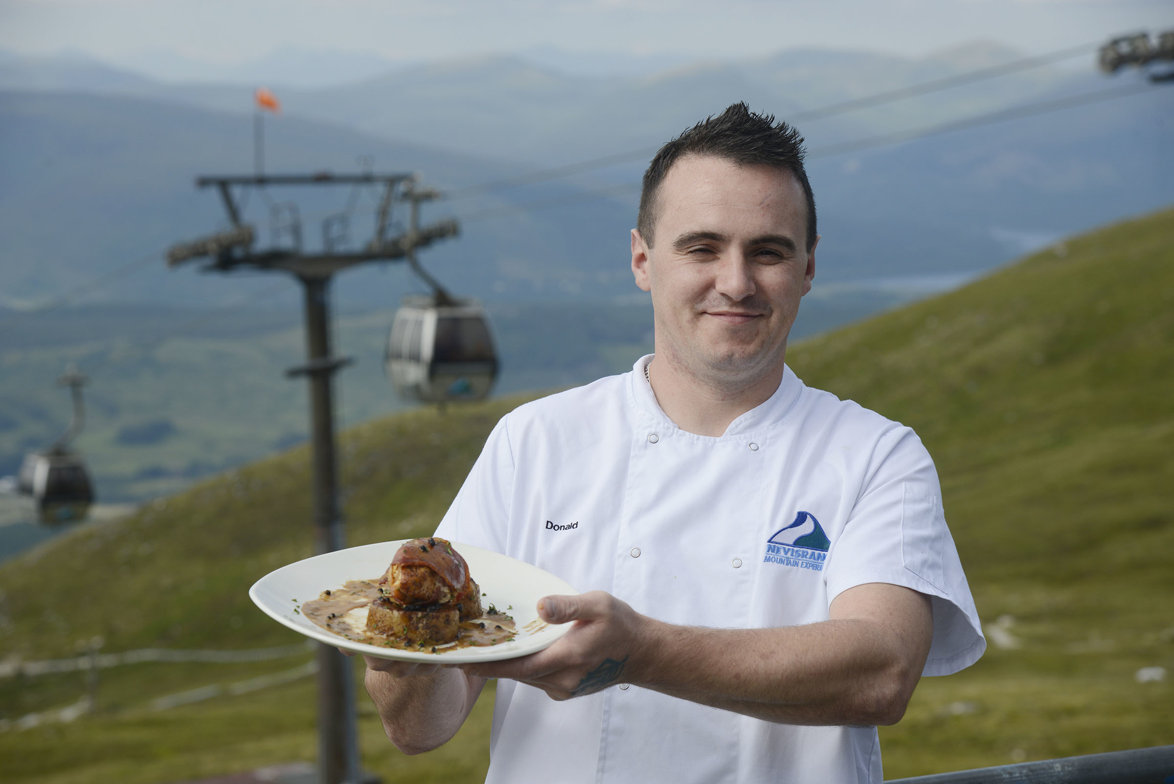 Chef Donald MacNeil with one of his dishes made using Lochaber produce.