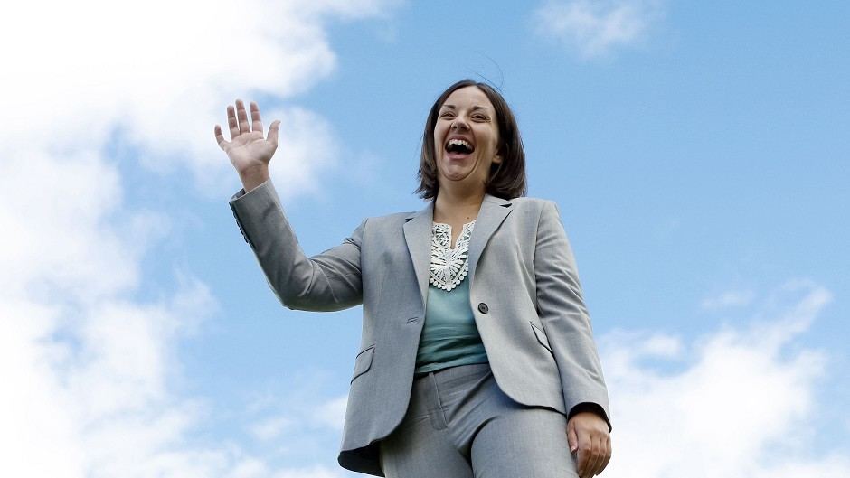 Kezia Dugdale celebrates after being elected Scottish Labour leader